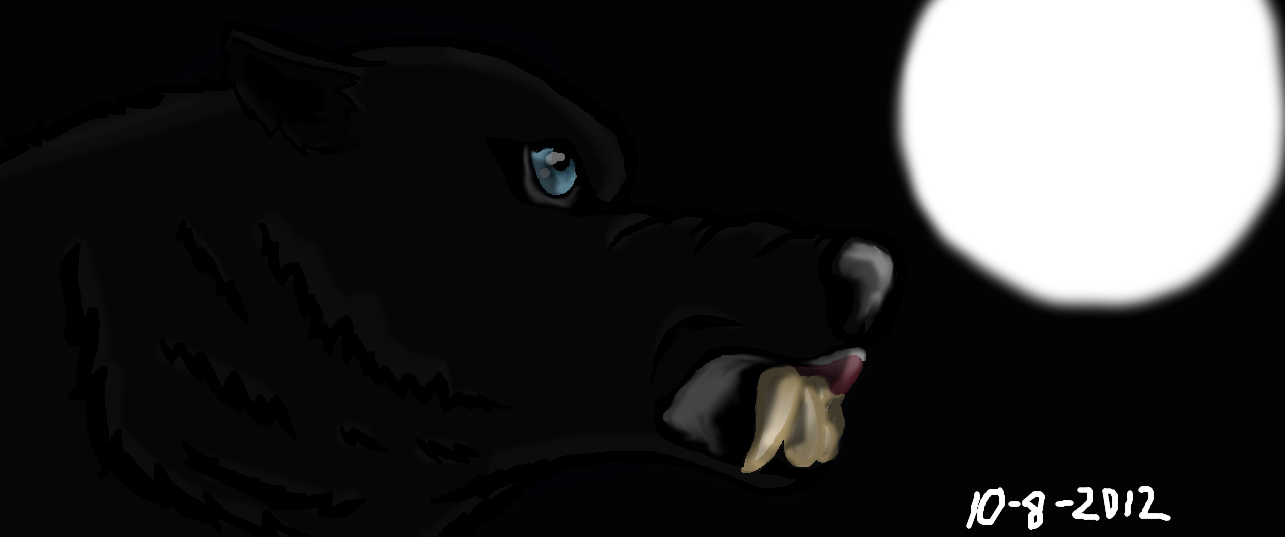 Black wolf with blue eyes drawing - photo#7