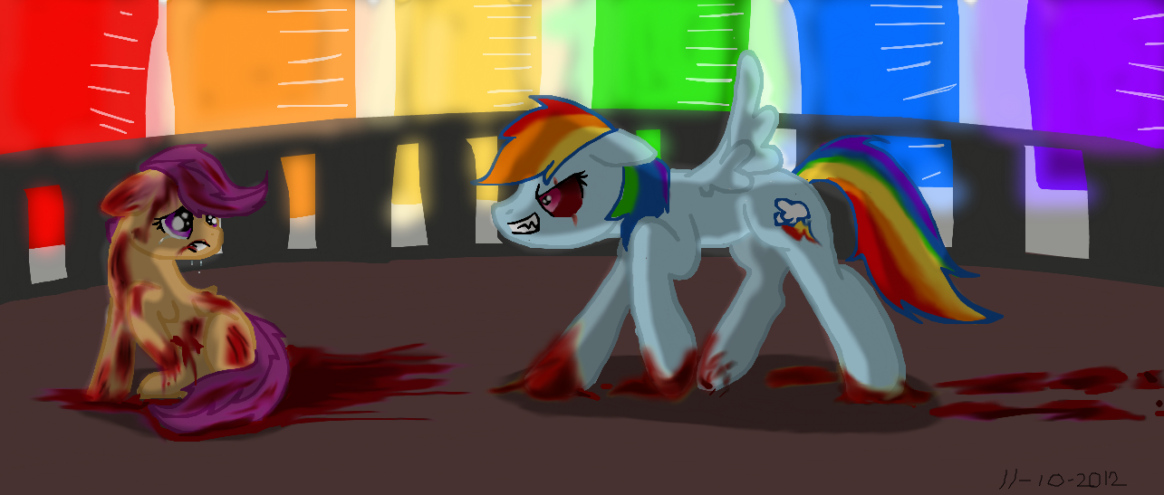 Rainbow Factory Rainbow Dash Attacking Scootaloo By Hannahtheartistic On Deviantart Youve taught me a thing or two. rainbow dash attacking scootaloo by