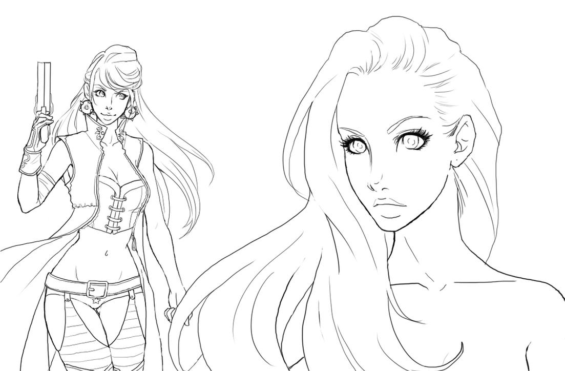 Line Art With Photo : Adeline new look line art by shidabeeda on deviantart