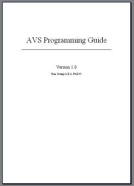 AVS Programming Guide by pak-9