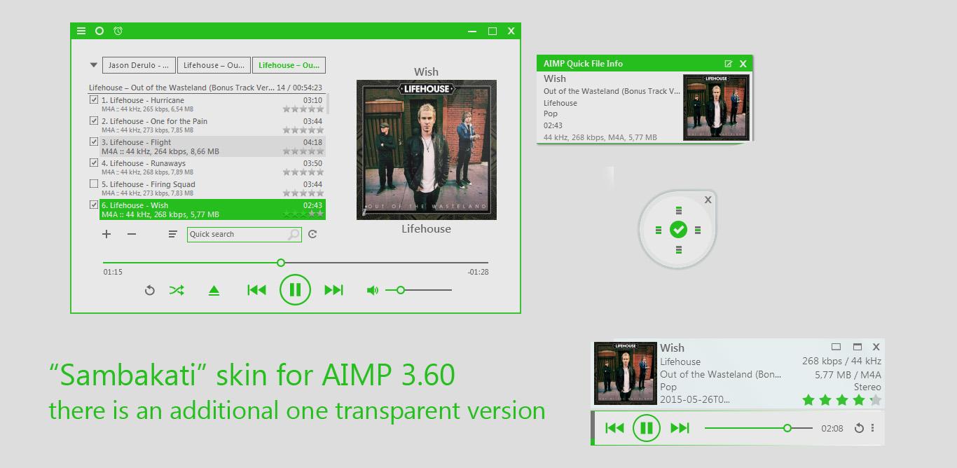 Sambakati skins for AIMP 3.60 by amdpastrana