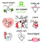 Shy shrimp LINE sticker ( English)