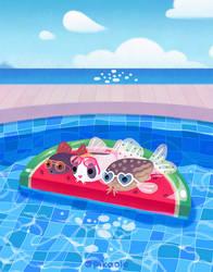 Cory catfish swimming pool theme