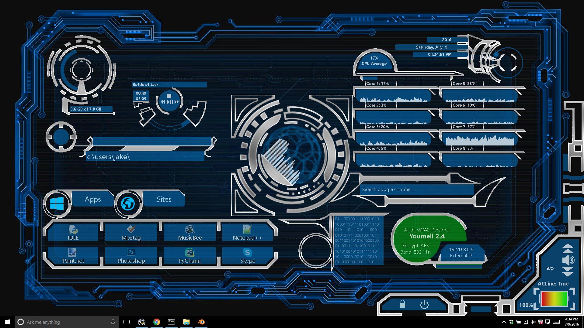 Rainmeter Futuristic/High Tech UI Theme By Jake5225 On