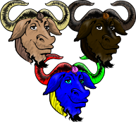 Coloured GNU Head Vector by warbo