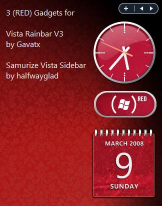 RED gadgets 4 Rainbar+Samurize by fediaFedia