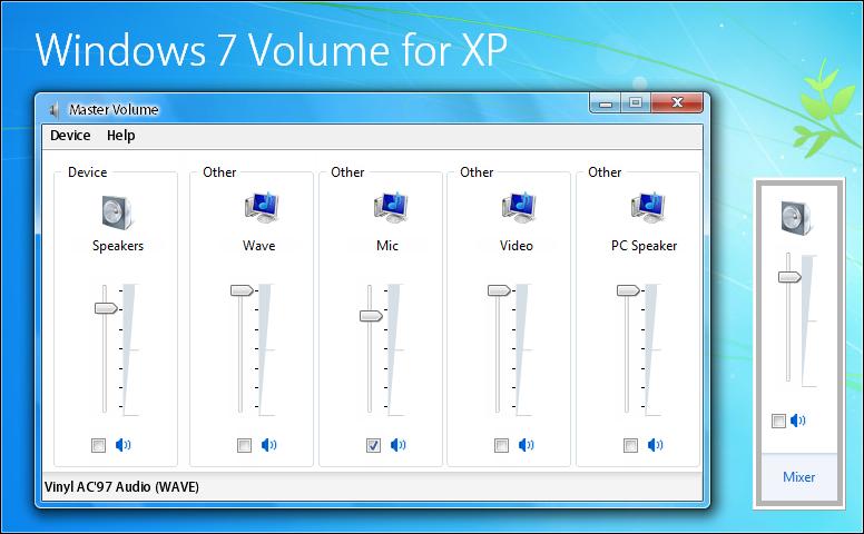 Windows 7 Volume mod for XP