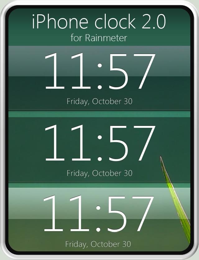 iPhone clock 2.0 for Rainmeter by fediaFedia