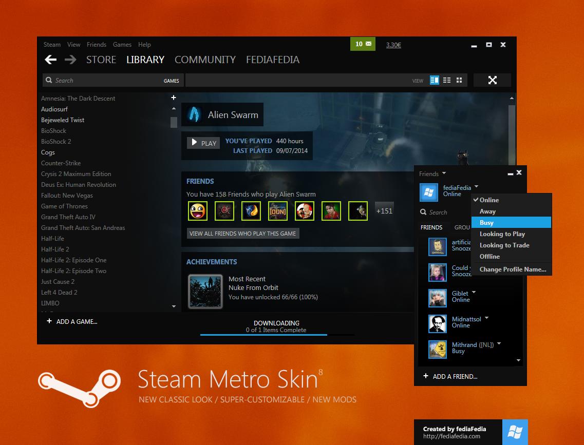 Steam Metro skin BETA 8 - UPDATE by fediaFedia