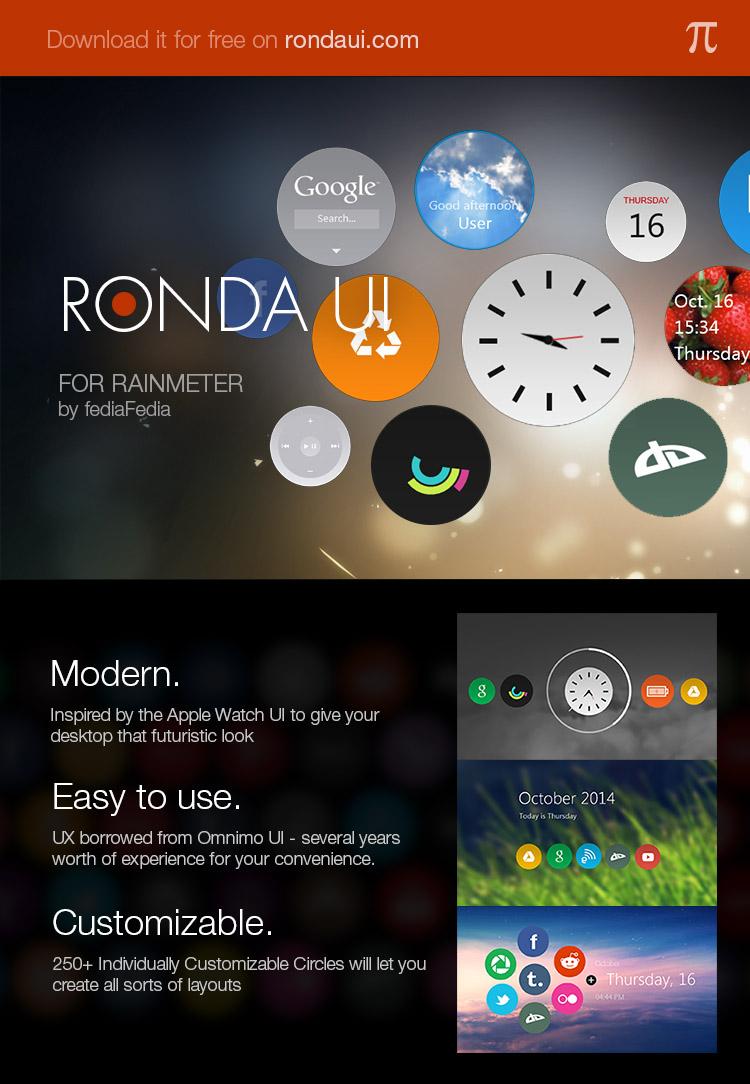 Ronda UI 1.0 for Rainmeter by fediaFedia