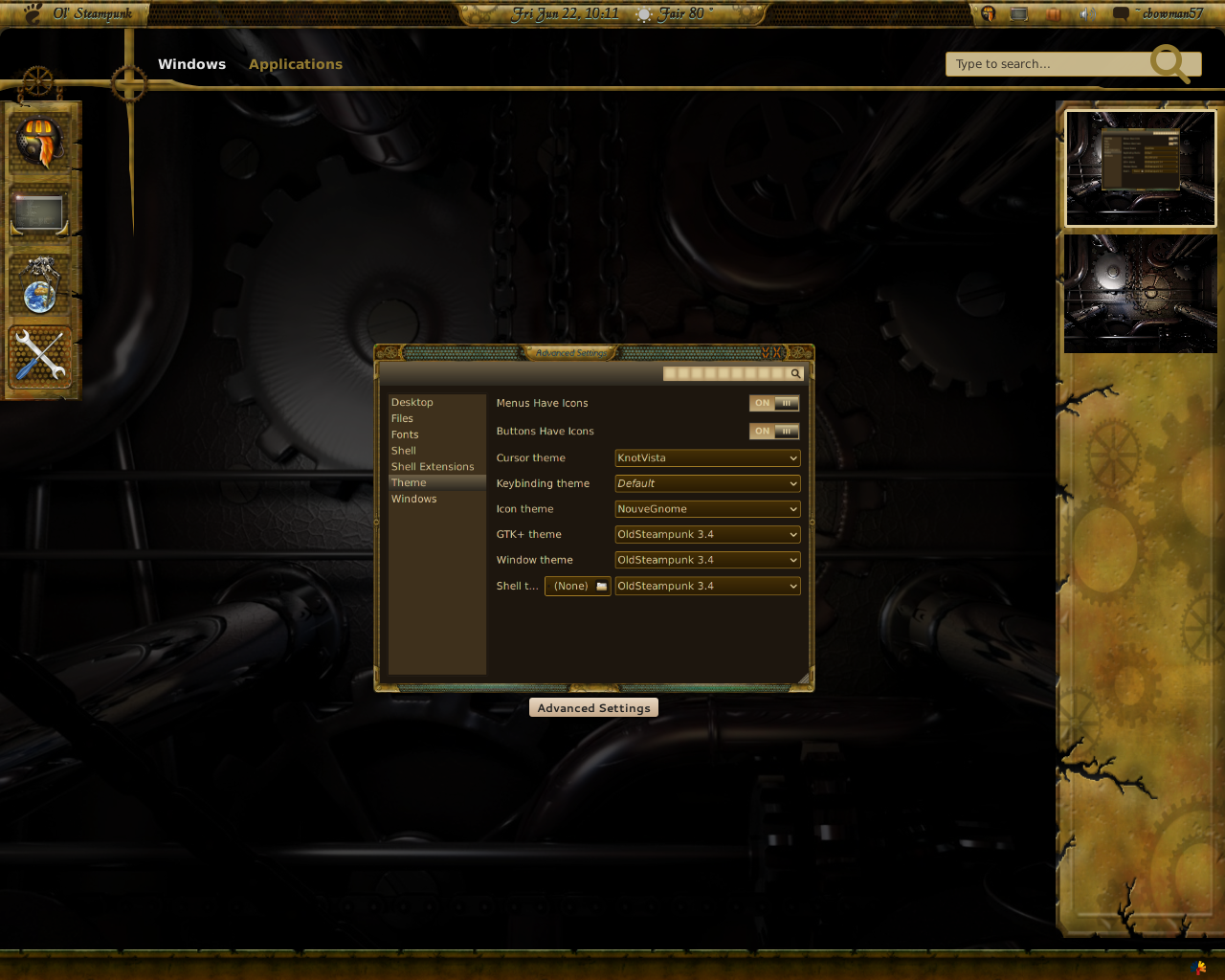~samriggs Old Steampunk 3.4 Gnome shell theme