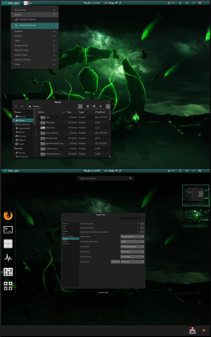 Kolor-Jade Gnome shell theme 3.6 by cbowman57