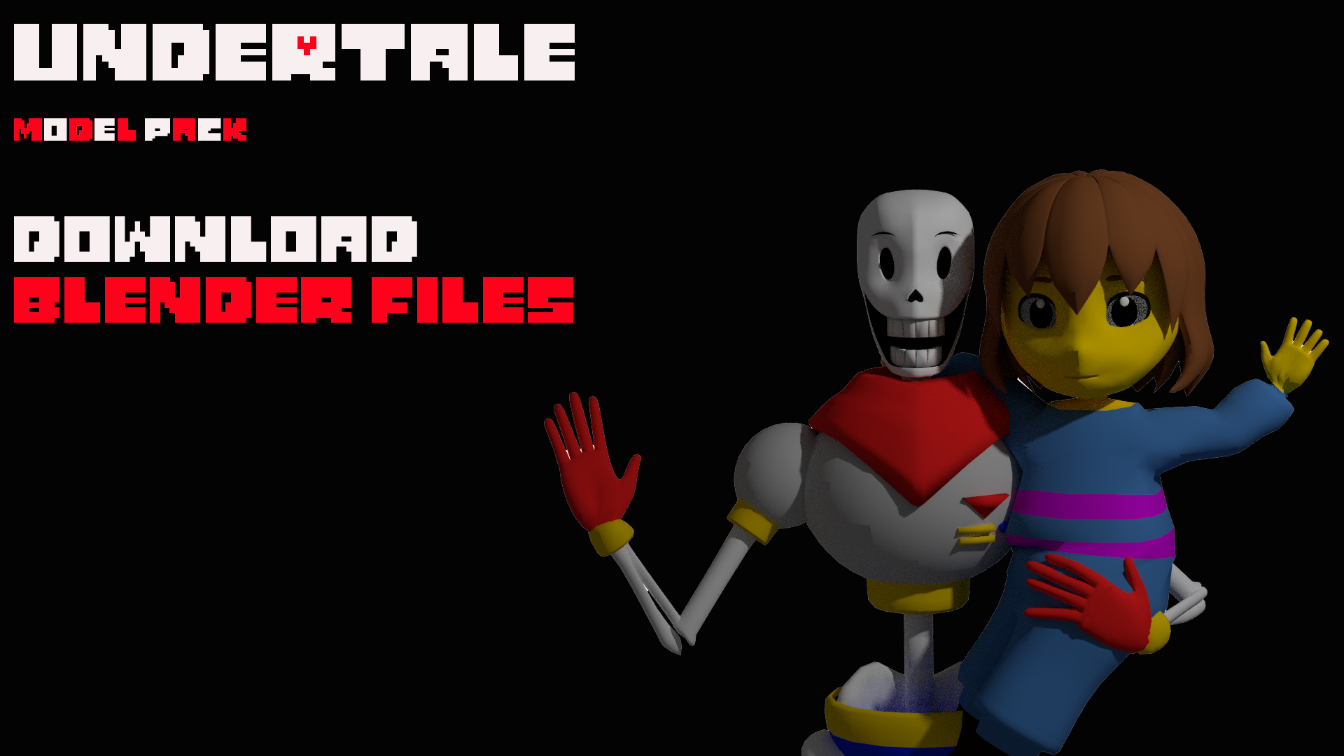 Undertale Model Pack DOWNLOAD Blender Files by AngryGal on