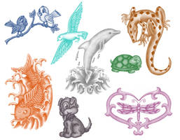 8 Animal brushes by Kribabe-stock