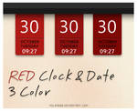 RED Clock and Date 3 Color