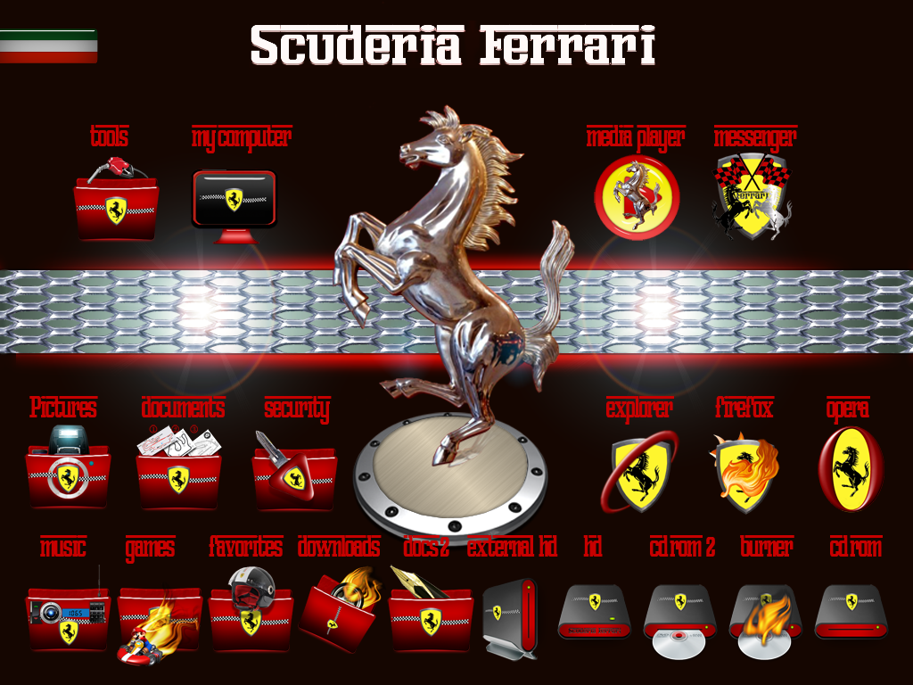 Ferrari icon set and wallpapers for replacement in windows 7.