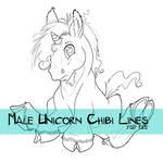 Male Unicorn Chibi Lines