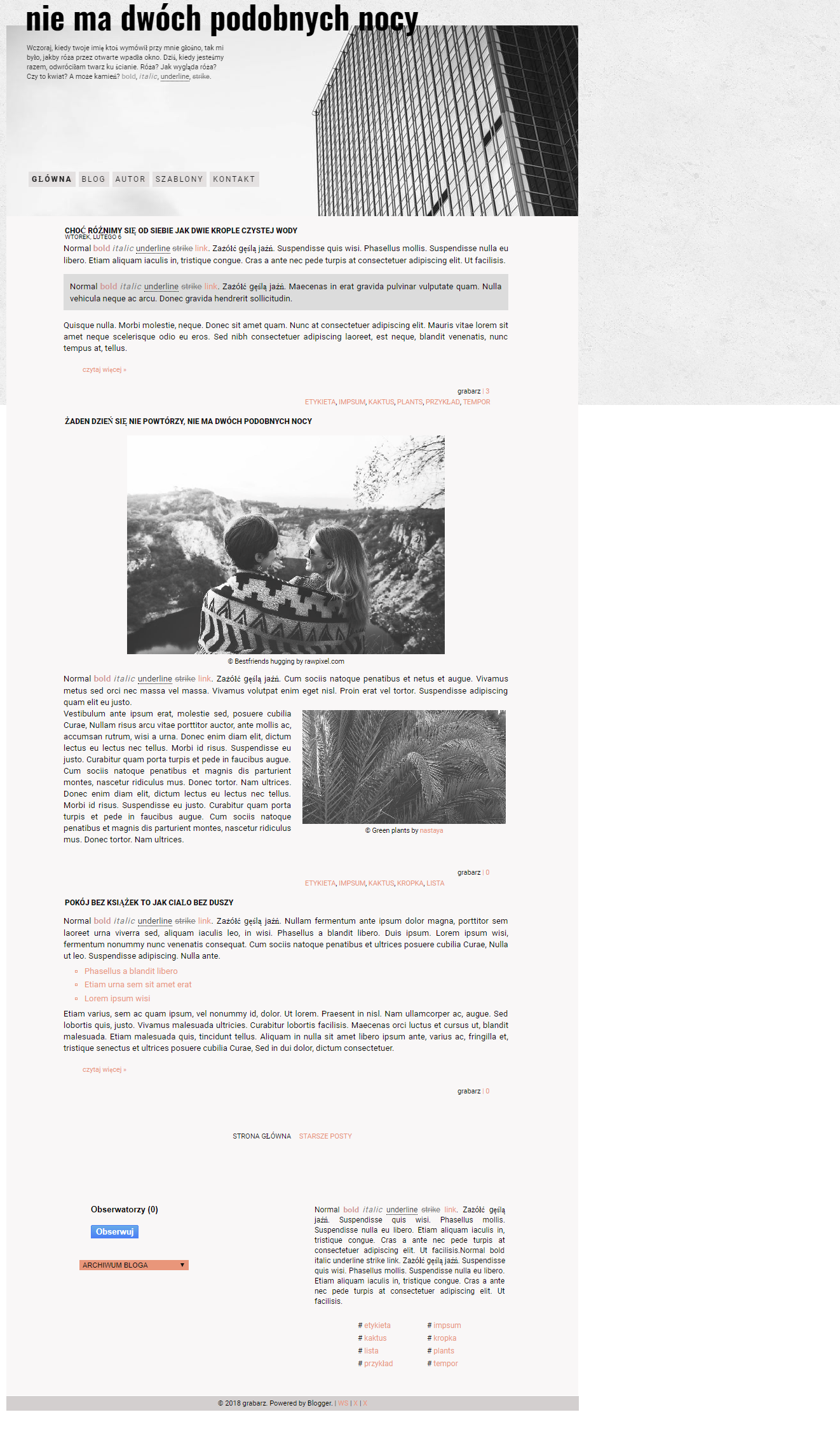 [1318] NOTHING TWICE // FREE BLOGGER TEMPLATE by grabarze