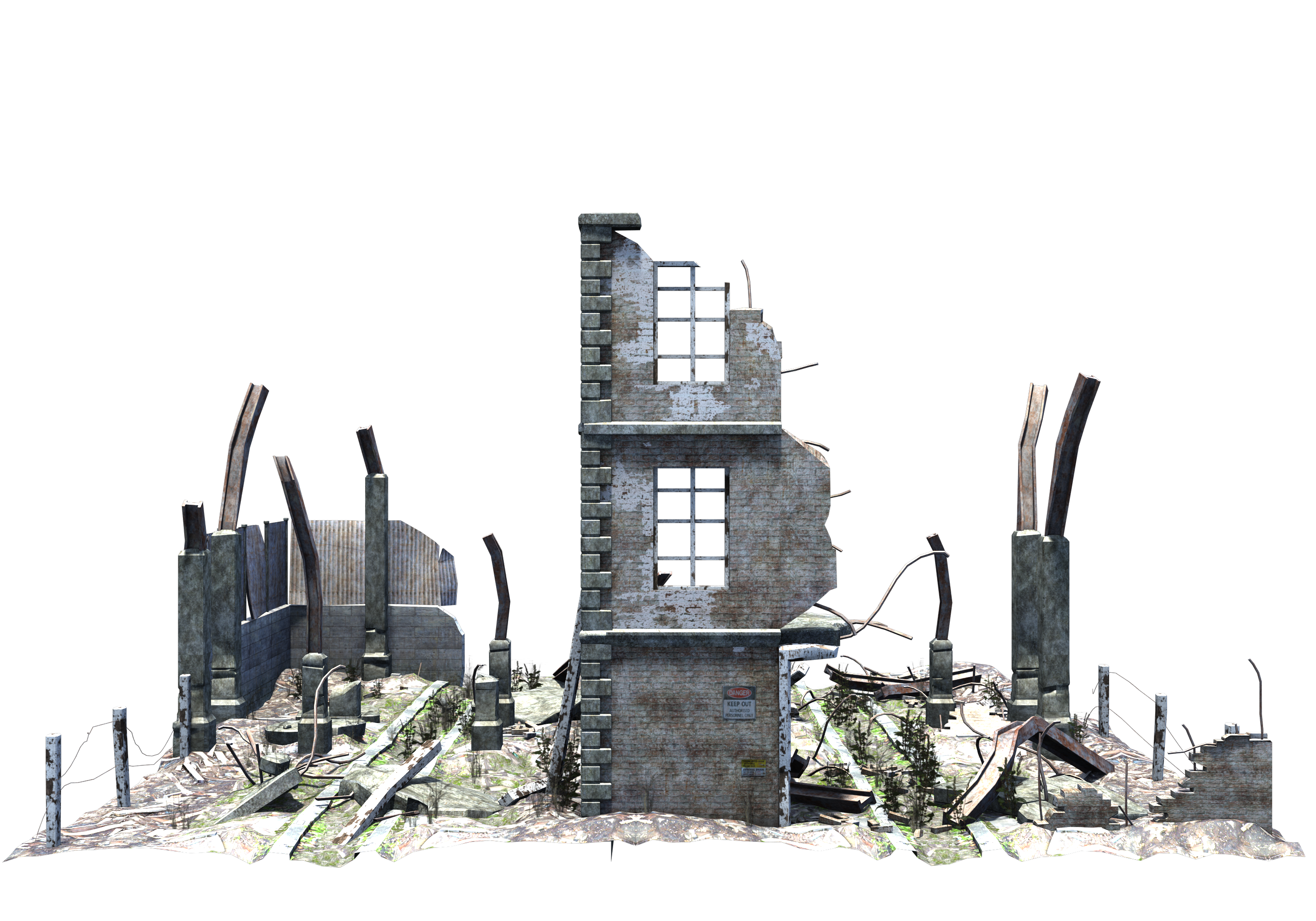 Ruined Building Stock PNG Pack