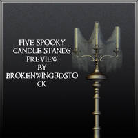 5 Spooky Candle Stands by BrokenWing3dStock