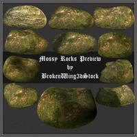 Mossy Rocks by BrokenWing3dStock