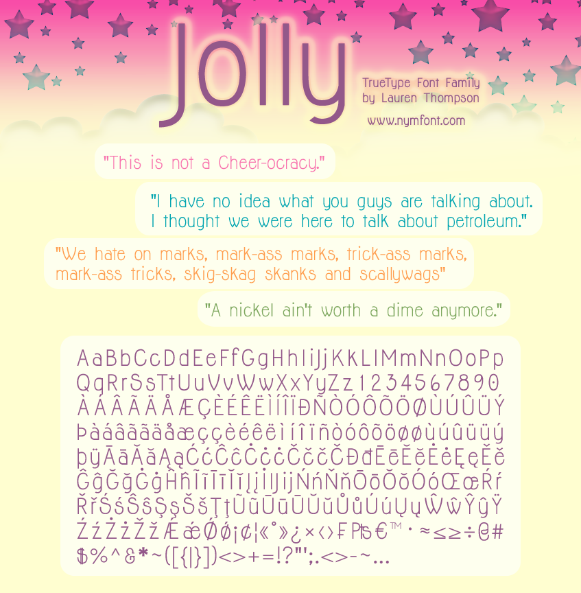 Jolly Font Family by nymphont Nymfont Showcase: The Beautiful Typeface Designs of Lauren Thompson