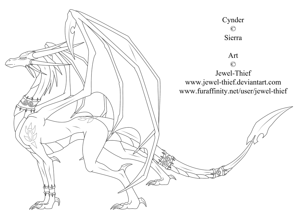 Cynder The Dark Queen-Lineart by Jewel-Thief
