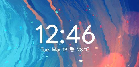Android Pie Style Clock Rainmeter Skin.