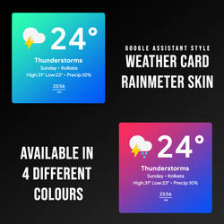 Weather Card Rainmeter Skin (GoogleAssistantStyle) by StarLender