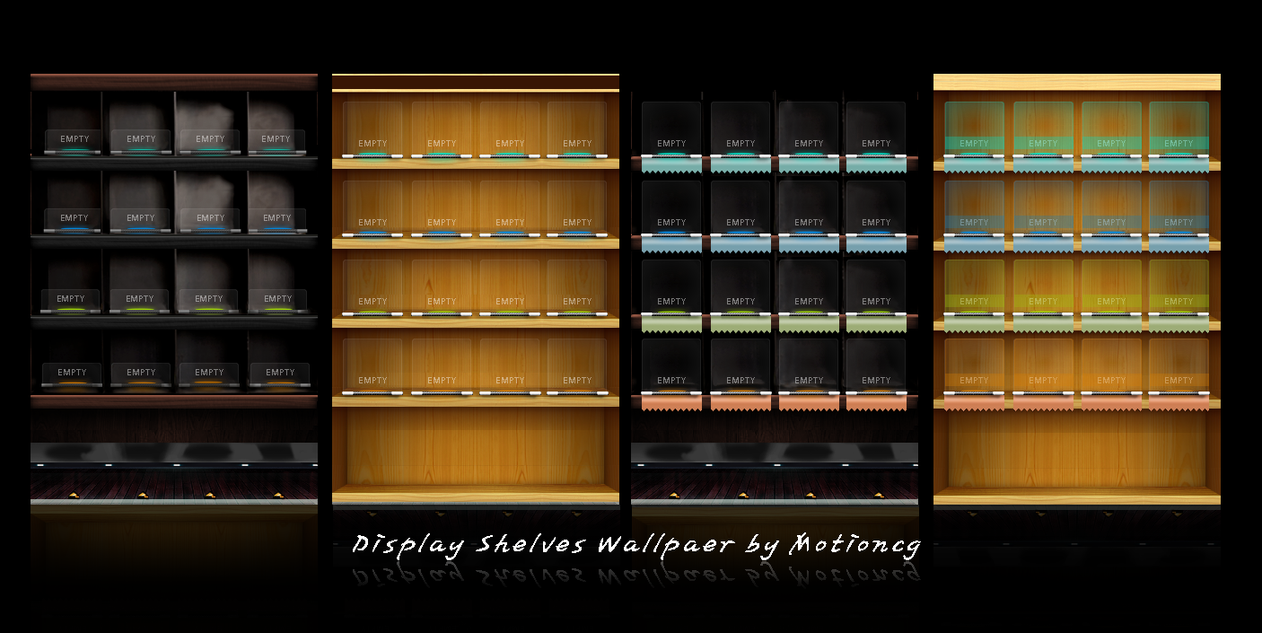 Display shelves by motioncg on deviantart for How to make display shelves