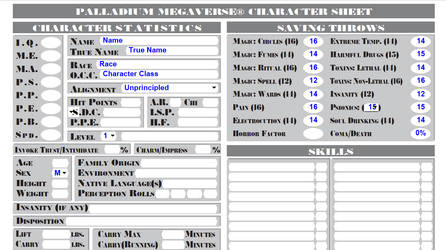 Full Megaverse Character Sheet Fillable