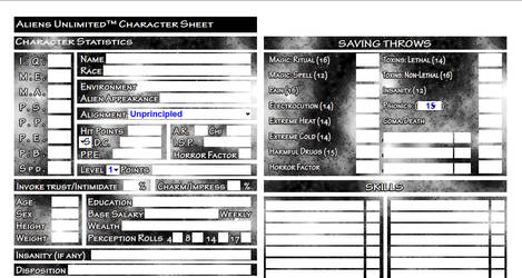 Fillable Aliens Unlimited Character Sheet