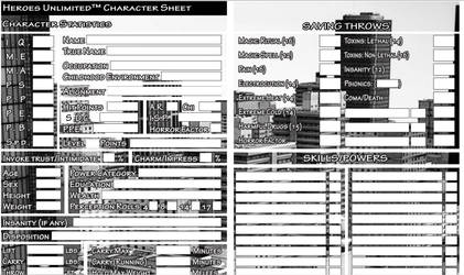 Heroes Unlimited Fillable Character Sheet
