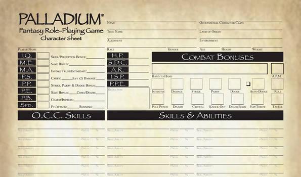 Pathfinder Style Palladium Fantasy CS FILLABLE