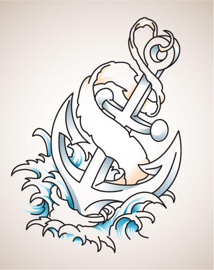 Free Old school tattoo style anchor vector for you all to tattoo on yourself