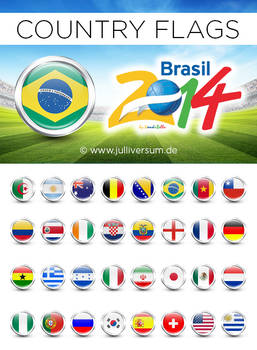 FIFA World Cup 2014 Brazil Country Flags PNGs