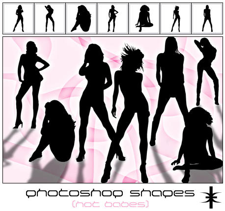 Photoshop Shapes   Hot babes by mutato nomine Photoshop Shapes : Free Resources