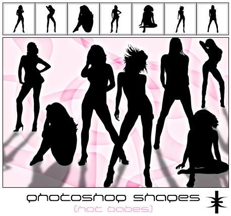 Photoshop Shapes - Hot babes by mutato-nomine