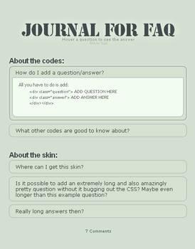 Journal for FAQ