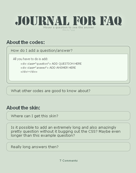 Journal for FAQ by pjuk