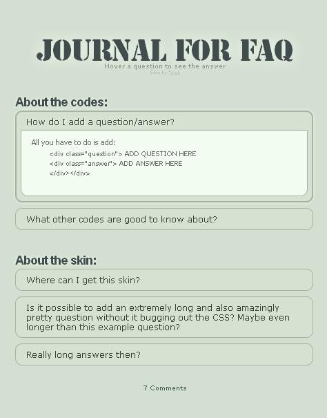 Journal for FAQ by pjuk