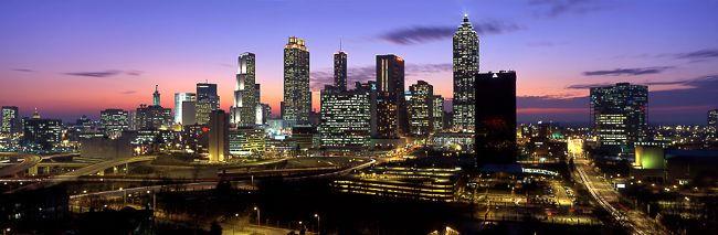 Atlanta skyline at night with blinking red light