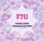 Pastel goth seamless pattern