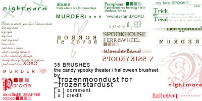 Halloween Text Brushes 100x100 by frozenmoondust