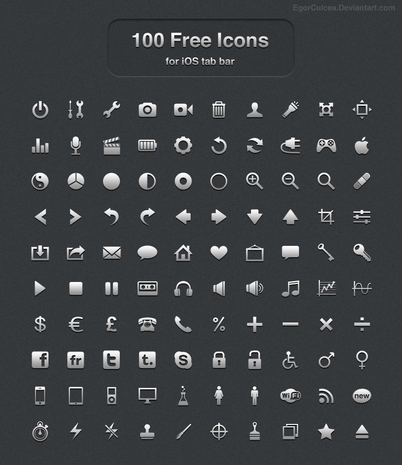 100 Free icons for iOS tab bar