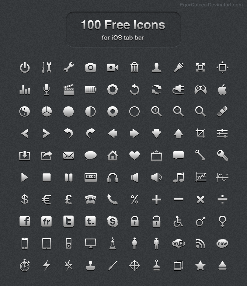 100 Free icons for iOS tab bar by EgorCulcea