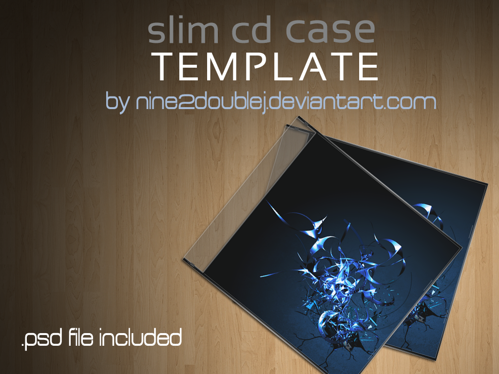 cd case artwork template - slim cd case template by nine2doublej on deviantart