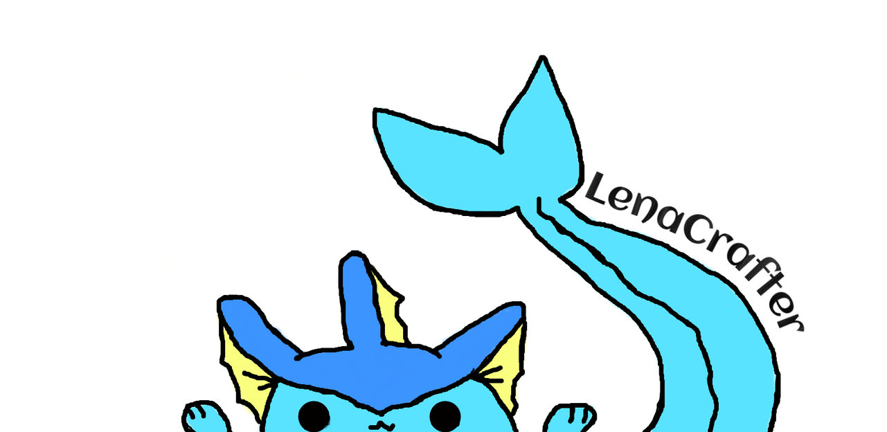 A really short Vaporeon with a really long tail... by LenaCrafter