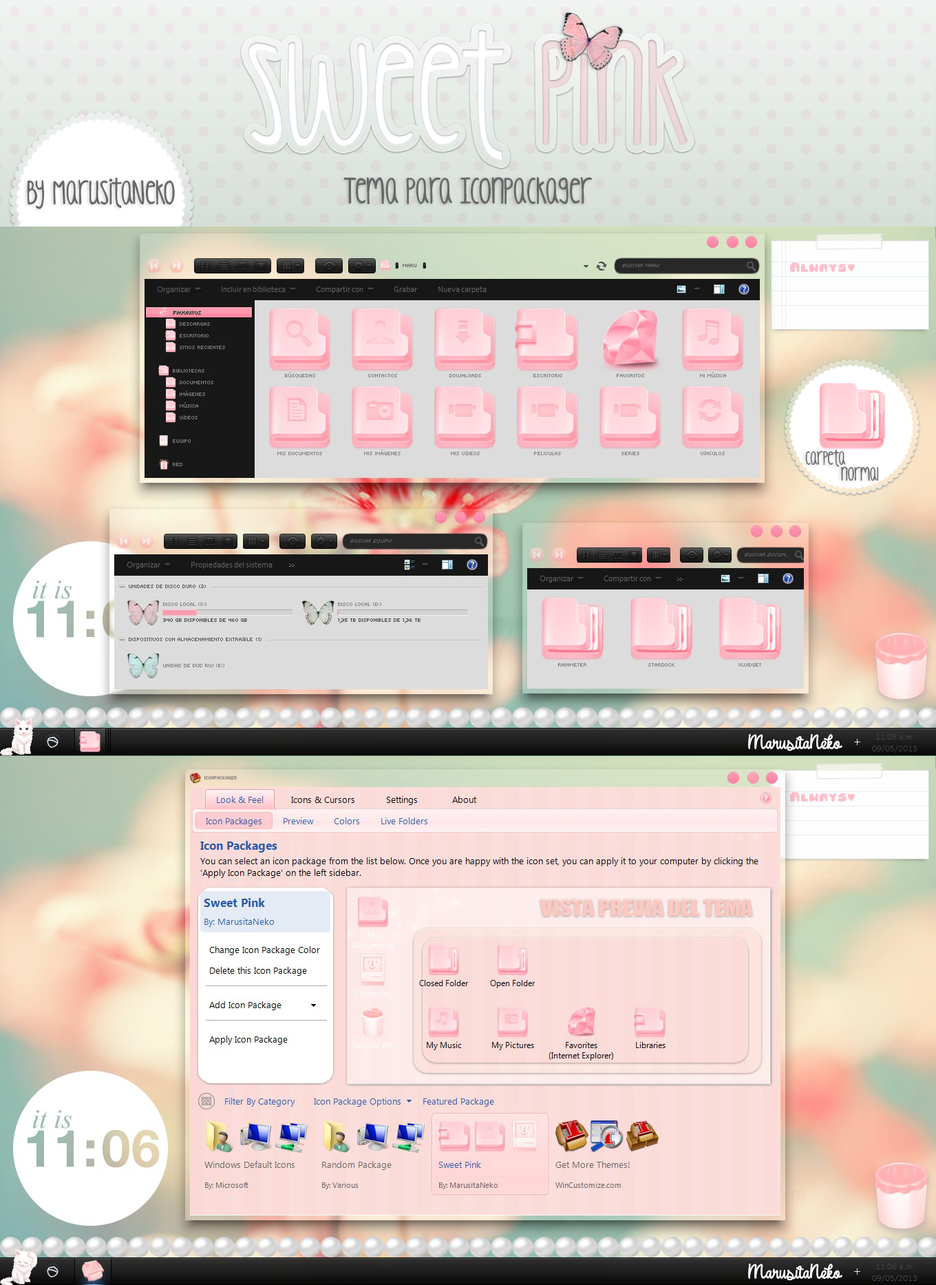 Sweet Pink Tema para Iconpackager by marusitaneko