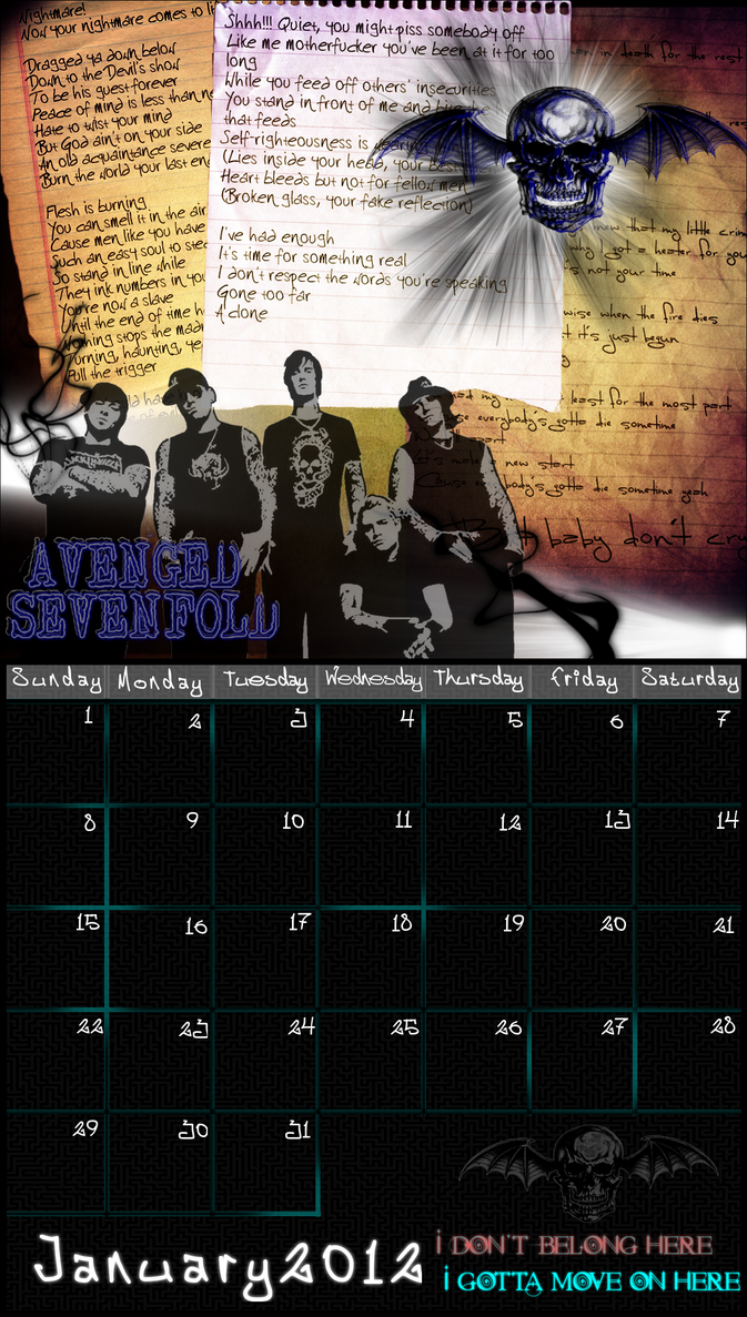 January 2012 Calendar - A7X by glomdi
